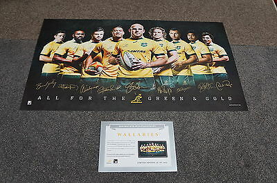 Wallabies Signed 2015 World Cup Rugby Union Sportsprint ONLY + COA