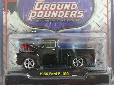 1956  Ford f-100 Ground Pounder Black  1:64 Scale M2 Diecast