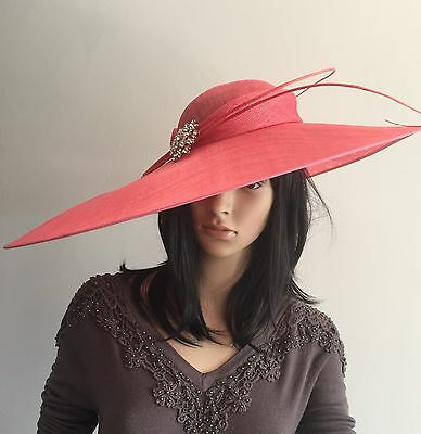 New Coral X Large Hatinator Ascot Occasion Hat Weddings Mother Of The Bride