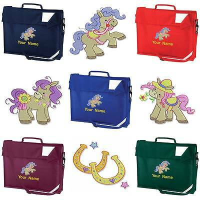 Personalised Embroidered Book Bag & Strap With Pretty Pony Design & Name School