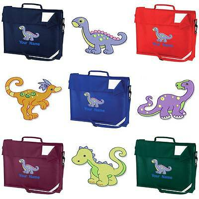 PERSONALISED EMBROIDERED BOOK BAG & STRAP WITH DINOSAUR DESIGN & NAME SCHOOL din