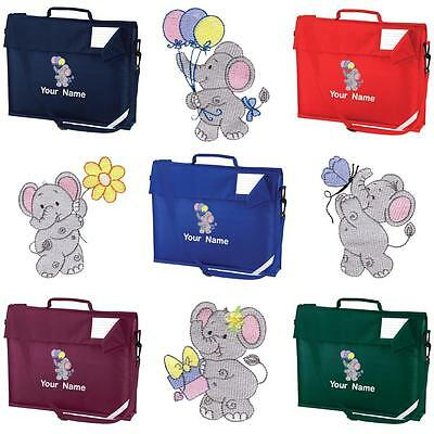 PERSONALISED EMBROIDERED BOOK BAG+STRAP WITH ELEPHANT DESIGN & NAME SCHOOL-music