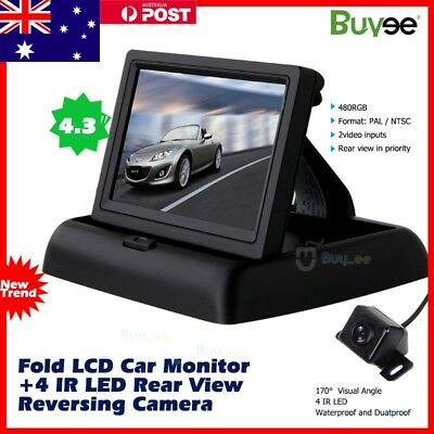 "Car Rear View Kit 4.3"" Fold LCD Monitor + HD 170° Night Vision Reversing Camera"