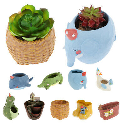 Various Cute Garden Flower Herb Planter Succulent Resin Pot Trough Box Plant Bed