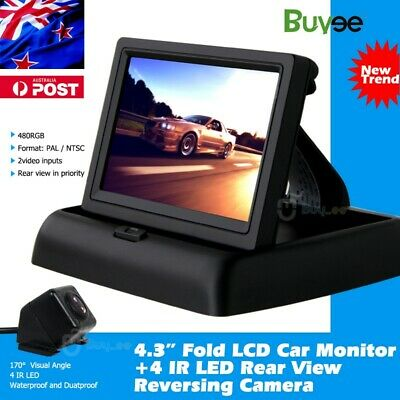 "HD Car Rear View Kit Reversing Camera IR Night Vision +Foldable 4.3"" LCD Monitor"