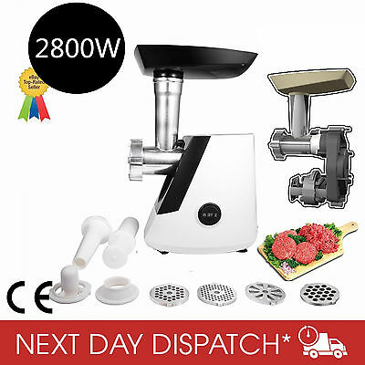 2800W Household Electric Meat Grinder Mincer Food Mincing Sausage Maker Black AU