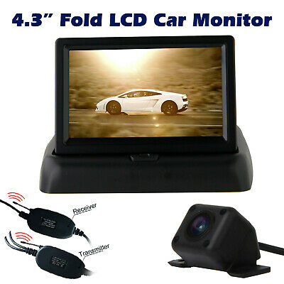 "Wireless Car Rear View Kit Reversing Camera Night Vision + Fold 4.3"" LCD Monitor"
