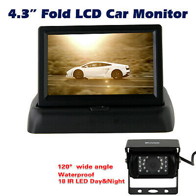 "Car Bus Rear View Kit Reversing Camera Night Vision + Foldable 4.3"" LCD Monitor"