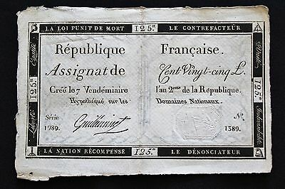 1793- Assignat signed by Guilleminet 125 Livres - French Revolution Paper Money