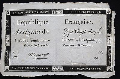 1793- Assignat signed by Meyraus 125 Livres - French Revolution Paper Money