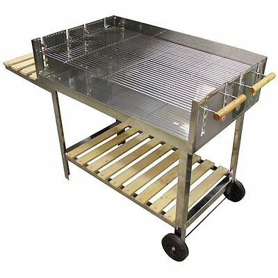 BBQ Collection Barbecue a charbon inox rvs sur roues 116x64cm