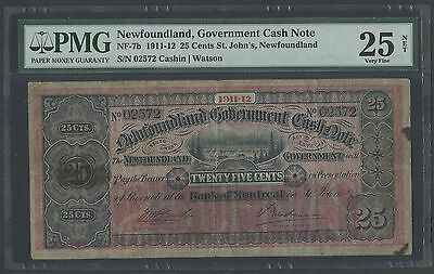 NEW FOUNDLAND NF-7b 25¢ 1911-1912 ST JOHN'S GOVT CASH NOTE PMG 25 NET VF WLM1201