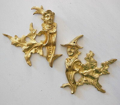 ANTIQUE FRENCH FURNITURE DECORATION PEDIMENT ORNAMENT Brass x 2 N°1