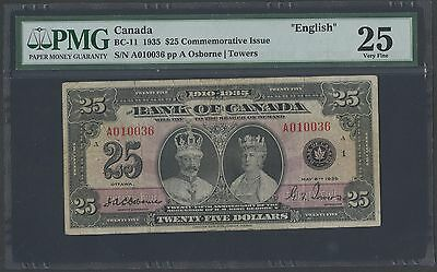 Canada Bc-11 $25 1935 Commemorative Issue Vf Pmg Vf 25 Wlm1202