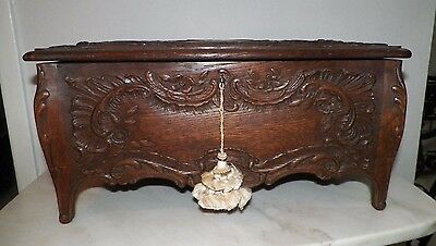 "Beautiful Antique French Floral Carved Dresser Box With Key Footed 18"" Long"