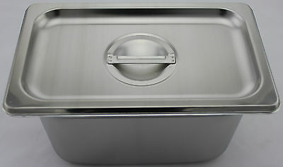 Stainless Steel Bain Marie Tray & Lid, 1/4 Size 150mm