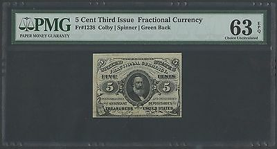 Fr1238 5¢ 3Rd Issue Green Back Fractional Pmg 63 Choice Unc Epq Bt357