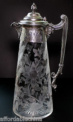 Antique Cut Engraved Floral Early Glass Pitcher Silver Plate - Gorgeous!