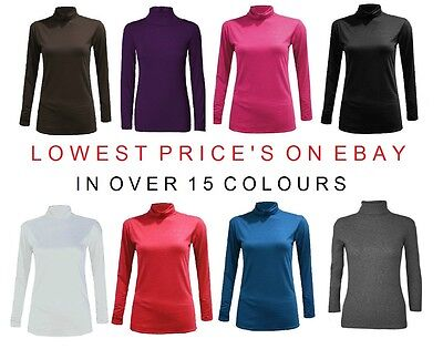 Ladies Long Sleeve Polo Neck Roll Neck Top Womens Turtle Neck Plain Jumper 8-14
