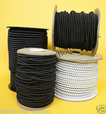 Bungee Shock Elastic Cord Rope 5mm 6mm 8mm Black White - Trailer Cover Tie Down