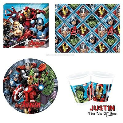 AVENGERS SUPER HERO Boys Birthday Party Tableware Plates Cups Napkins Tablecover
