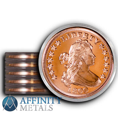 5 Coins-  Draped Bust 1 oz .999 Copper Bullion Rounds  In Caps!