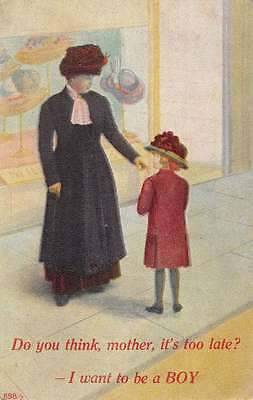 Mother and Child Comic Greeting Shopping  Antique Postcard L3221