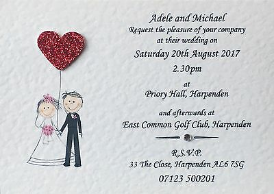 10 Handmade Personalised Wedding Invitations Day / Evening with free envelopes.
