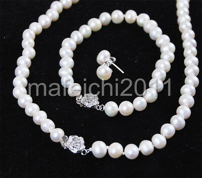 7-8mm White Freshwater Cultured Pearl Bracelet Necklace Earrings
