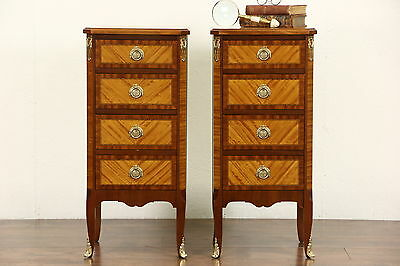 Pair French 1940's Vintage Satinwood Nightstands or End Tables, Gold Mounts