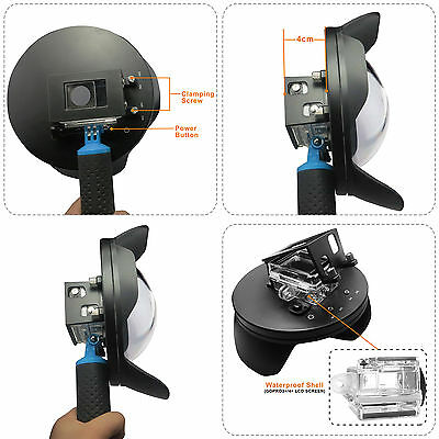 Shoot Underwater Camera Dome Port Lens Hood + Extra LCD Storage Gopro Hero 3+ 4