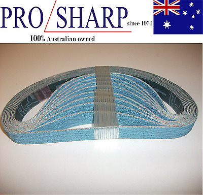 10 off metal/stainless steel linisher/sanding belt 10x330 zirconia 80 grit blue