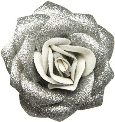 60083 Silver Glitter Rose Flower Hair Clip Sourpuss Pinup Retro Kawaii Sparkles