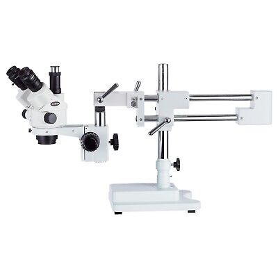 AmScope 7X-45X Simul-Focal Stereo Lockable Zoom Microscope w Dual Arm Boom Stand