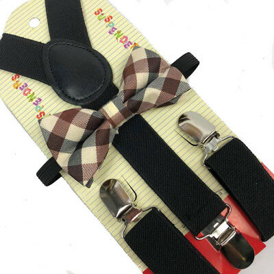 Kids Black Suspender & Ivory Bowtie - Children Toddler Baby Elastic Combo
