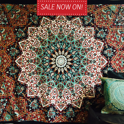 Indian Hippie Star Mandala Psychedelic Twin Wall Hanging Tapestry Throw Ethnic