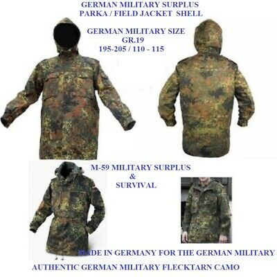 """Authentic German Military Flecktarn Camo Parka  Shell - Fits A 50-52""""Chest - NEW"""