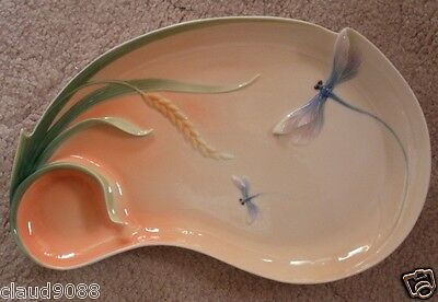 "Franz Porcelain ""large Chip And Dip Tray - Dragonfly Design"" Fz1301  Mint In Box"