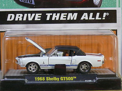 1968 Shelby Mustang GT500 Convertible WHITE 1:64 Scale M2