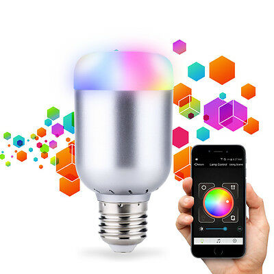 Wireless Bluetooth Control Music Audio LED RGB Energy Smart Bulb Light Lamp E27