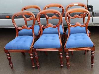 Set 6 Victorian Elegant Mahogany Balloon Back Dining Chairs. Lovely Blue Seats