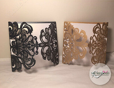 Luxury Wedding Invitations Invites Laser Cut Out Cards Party Gold Black Quality