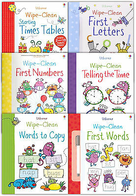 Usborne Wipe Clean Learn To Write 6 Books Collection Set Inc Marker Pen Children