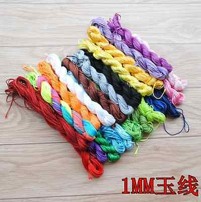 1mm Chinese Knot Satin Nylon Braided Cord Macrame Beading Rattail Cords 25Meter