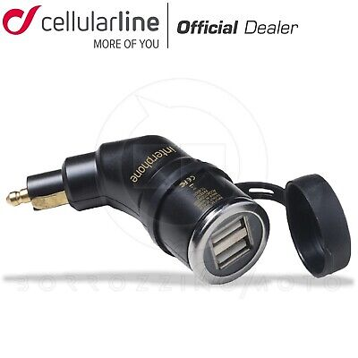 Cellularline Interphone Adattatore Din 12V 24V Moto Doppia Usb Presa Bmw
