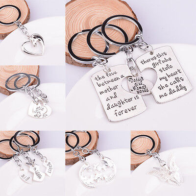 Sister Horse Mom Heart Keychain Key Chains Keyfob Keyrings Silver Plated Family