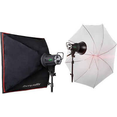 Interfit INT352 EX150 MK III Twin Head Umbrella Kit Two Head Lighting Kit