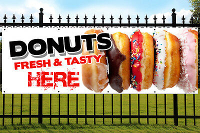 Donut Banner PVC Printed Outdoor/Indoor Catering Sign with Eyelets Doughnuts