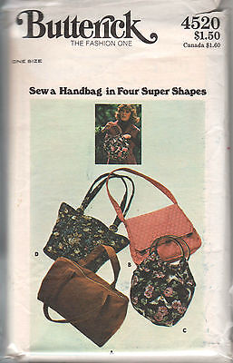 4520 BUTTERICK c.1970s - 4 Styles of HANDBAGS PURSE - One Size