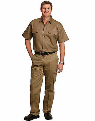 Mens Cargo Pants Long Fit Trousers Work Wear Tradie Slacks Uniform